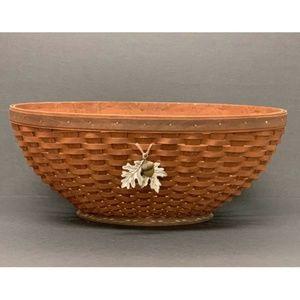Longaberger Large Oval Bowl Basket with Falling Le
